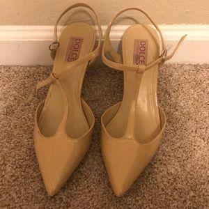 patent cream pointed toe heels